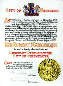 Freeman of city of westminster