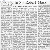 reply to sir robert mark