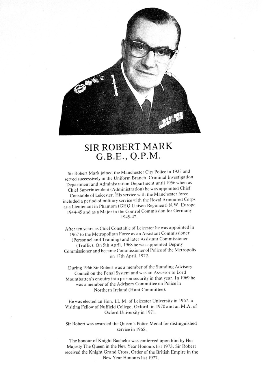 sir robert mark gbe qpm
